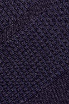 DION LEE Rib-trimmed stretch-knit skirt