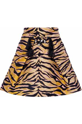 KENZO Embellished pleated metallic jacquard mini skirt