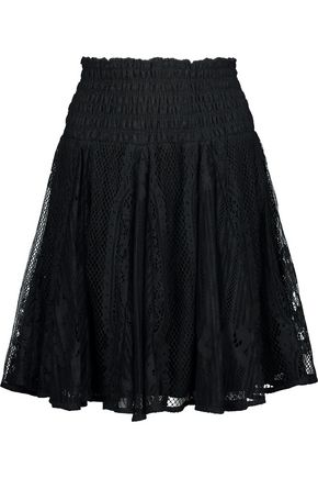 MAJE Jama shirred lace mini skirt