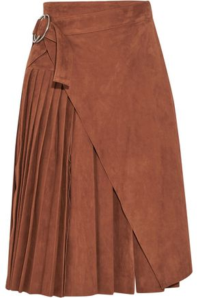 OFF-WHITE™ Wrap-effect pleated suede skirt