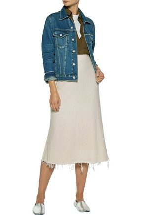 SIMON MILLER Mayer frayed linen midi skirt