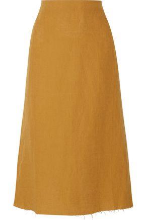 SIMON MILLER Mayer frayed linen midi skirt