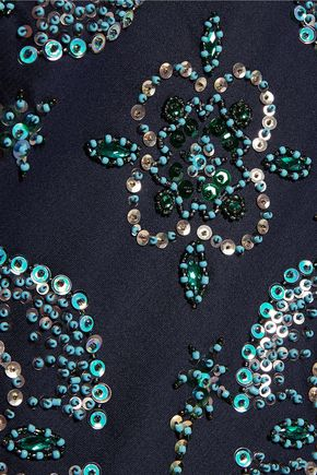 TORY BURCH Embellished silk-gazar skirt