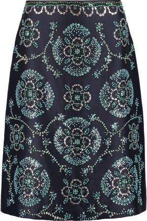 TORY BURCH Embellished silk-gazar skirt