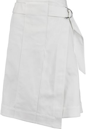 TORY BURCH Denise belted stretch-cotton twill skirt