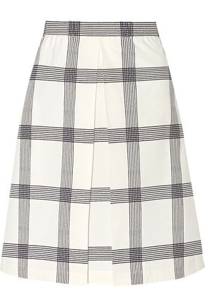 TORY BURCH Pleated checked stretch cotton-poplin skirt