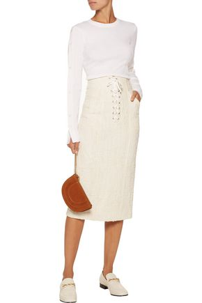 A.L.C. Liya lace-up cotton-blend bouclé midi skirt