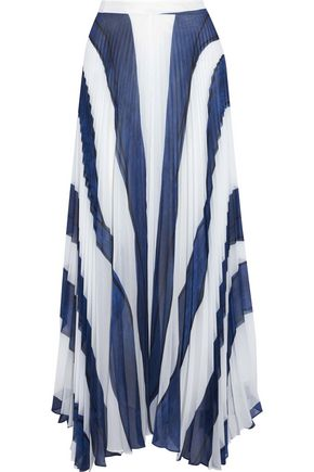 ALICE+OLIVIA Pleated printed chiffon maxi skirt