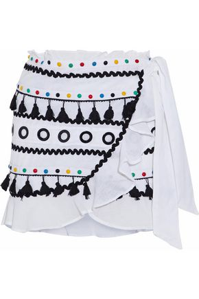 DODO BAR OR Embellished cotton-canvas coverup