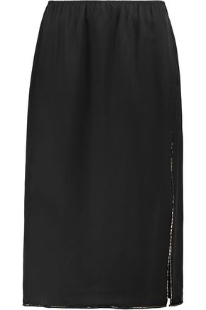 THEORY Livny embellished silk-satin midi skirt