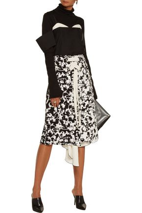 PROENZA SCHOULER Asymmetric lace-up layered jacquard and printed crepe midi skirt