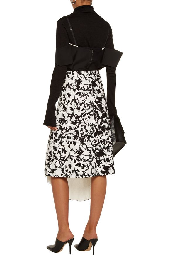 Asymmetric lace-up layered jacquard and printed crepe midi skirt   PROENZA  SCHOULER   Sale up to 70% off   THE OUTNET