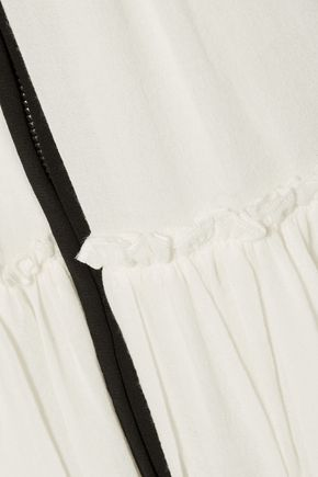 ISABEL MARANT Rena tiered beaded cotton-voile mini skirt