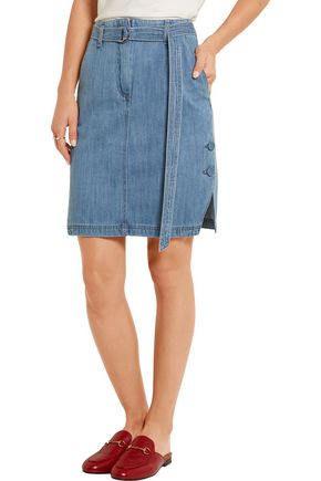 STEVE J & YONI P Belted denim skirt