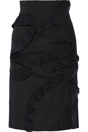 FACETASM Pleated pinstriped wool-twill skirt