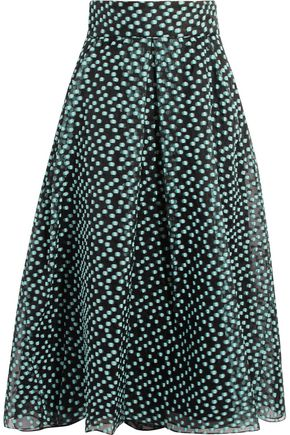 LELA ROSE Pleated fil coupé organza midi skirt