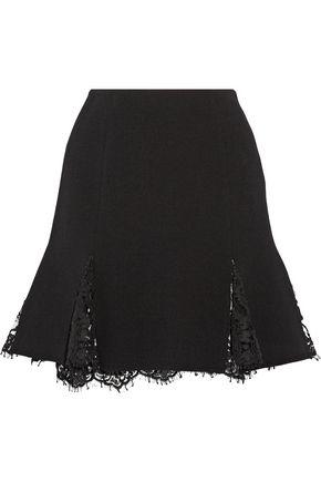 OSCAR DE LA RENTA Lace-trimmed wool-blend crepe mini skirt