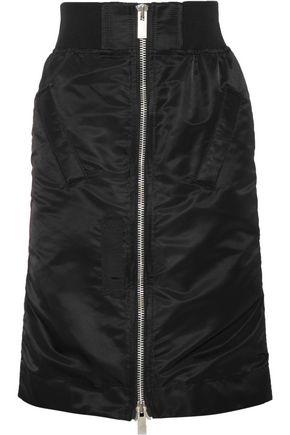 SACAI MA-1 satin-trimmed shell skirt
