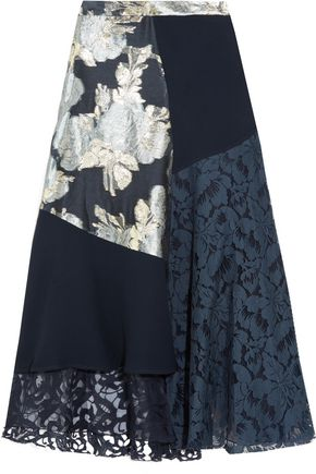 BIYAN Marine asymmetric paneled brocade, lace and crepe midi skirt