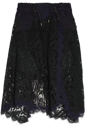 SACAI Asymmetric cotton twill-trimmed lace skirt