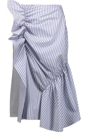 J.W.ANDERSON Ruffled striped cotton-canvas and cotton-blend poplin skirt