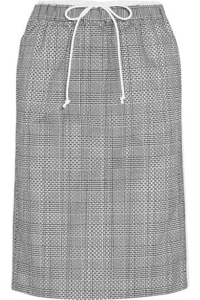 SACAI Laser-cut Prince of Wales checked jacquard and cotton-poplin midi skirt
