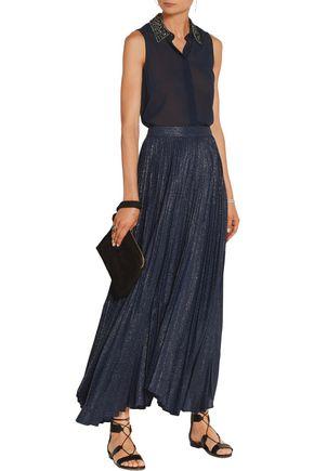 ALICE + OLIVIA Katz pleated metallic silk-blend jacquard maxi skirt