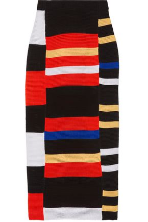 PROENZA SCHOULER Striped crochet-knit midi skirt