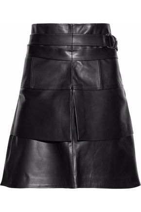 IRO Belted tiered leather mini skirt