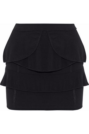 VIX PAULAHERMANNY Tiered ruffled open and stretch-knit mini skirt