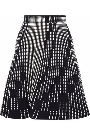 ROLAND MOURET Embroidered cloqué skirt