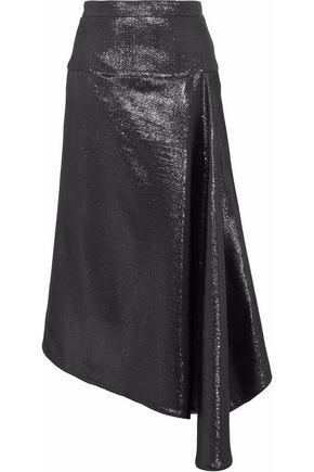 ROLAND MOURET Draped asymmetric lamé cloqué skirt
