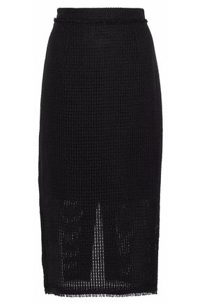 ROLAND MOURET Woven linen pencil skirt