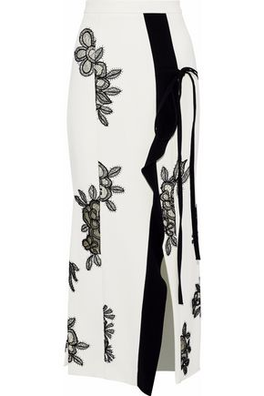 ROLAND MOURET Ruffle-trimmed appliquéd crepe midi dress