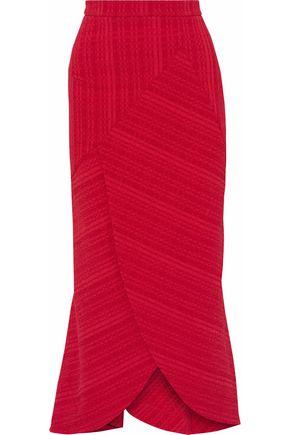 ROLAND MOURET Wrap-effect draped cloqué midi skirt
