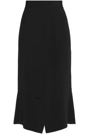 ROLAND MOURET Pleated crepe midi skirt