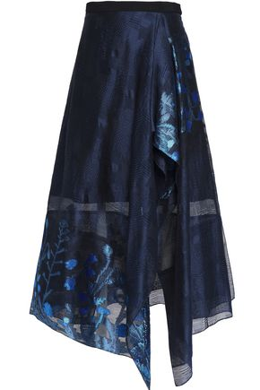 ROLAND MOURET Draped cotton-jacquard midi skirt