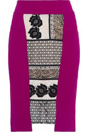 ROLAND MOURET Lace-paneled cady skirt