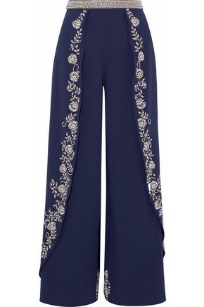 ALICE + OLIVIA Paneled embellished crepe wide-leg pants