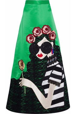 ALICE + OLIVIA Embellished satin-twill maxi skirt