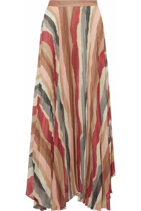 ALICE + OLIVIA Printed pleated maxi skirt