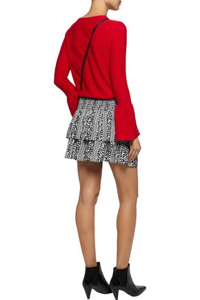 ALICE + OLIVIA Tiered printed crepe mini skirt