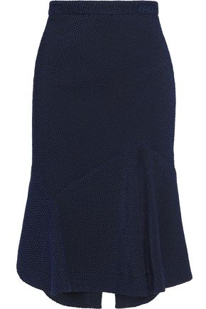 ROLAND MOURET Cotton-blend cloqué flared skirt