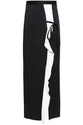 ROLAND MOURET Ruched lace-trimmed cady midi skirt