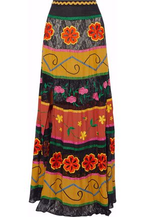 ALICE + OLIVIA Lace-paneled twill embroidered maxi skirt