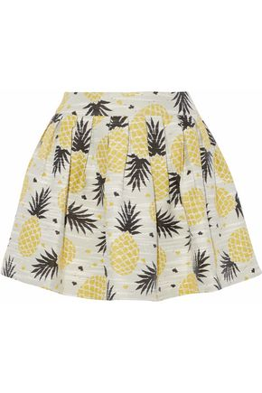 ALICE + OLIVIA Pleated jacquard mini skirt