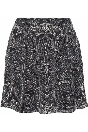HAUTE HIPPIE Printed silk-chiffon flared mini skirt