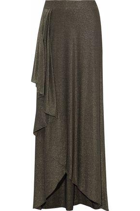 HAUTE HIPPIE Wrap-effect metallic stretch-jersey  maxi skirt