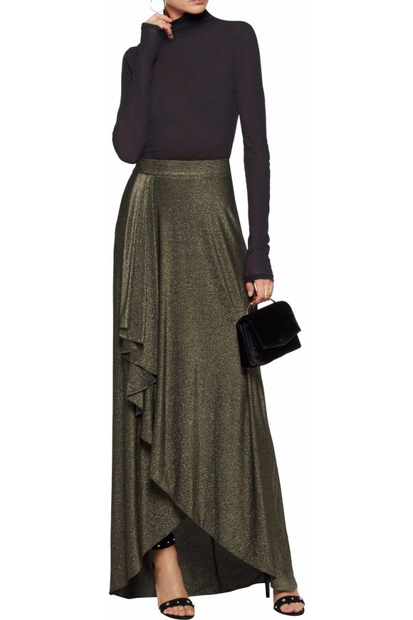 Wrap-effect metallic stretch-jersey maxi skirt | HAUTE HIPPIE | Sale up to  70% off | THE OUTNET