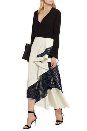 ESTEBAN CORTAZAR Draped cady and basketweave skirt